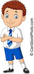 ragazzo, scuola, proposta, cartone animato, uniforme