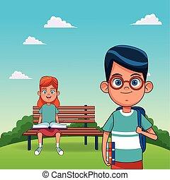 ragazzo sedendo, standing, panca, cartone animato, ragazza