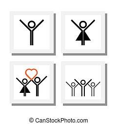 ragazzo, set, amore, icone, eccitato, brioso, vettore,...