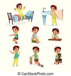 ragazzo, set, routine, quotidiano, vettore, attività, cartone animato