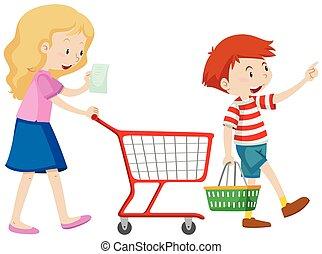 ragazzo, shopping drogheria, madre