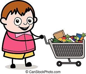 ragazzo, shopping, -, grasso, vettore, illustrazione, cartone animato, adolescente