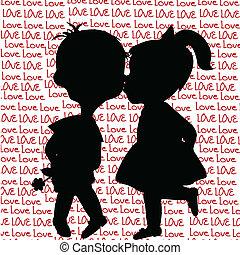 ragazzo, silhouette, baciare, ragazza, cartone animato, scheda