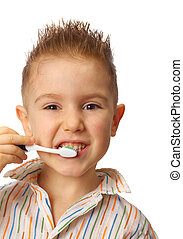 Ragazzo,  smiley, pulisce, denti
