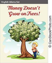 ragazzo, sotto, albero, soldi