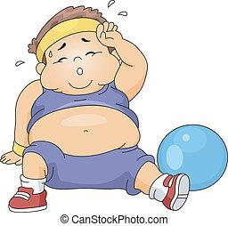 ragazzo, sovrappeso, esercitarsi