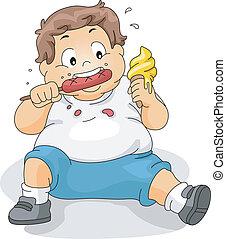 ragazzo, sovrappeso, mangiare