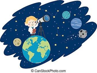 ragazzo, spazio illustrazione, capretto, astronomo