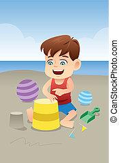ragazzo, spiaggia, gioco