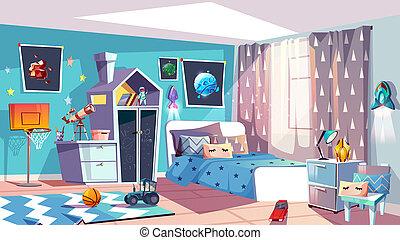 ragazzo, stanza, moderno, illustrazione, interno, capretto