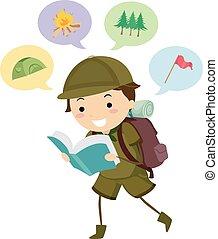ragazzo, stickman, campeggio, leggere, esploratore, libro, capretto