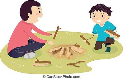 ragazzo, stickman, fuoco, campeggiare, padre, costruire, capretto