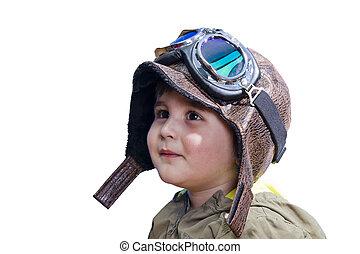 ragazzo, stile, vecchio, conveniente, uniforme, sognare, bambino, pilota, occhiali