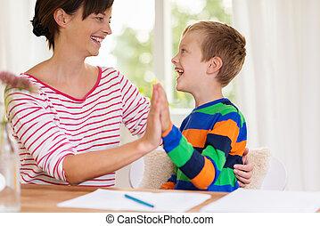 ragazzo, suo, giovane, o, ridere, madre, insegnante