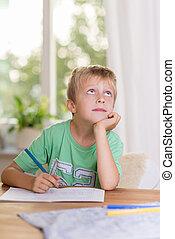 ragazzo, suo, giovane, pensieroso, classe, compito