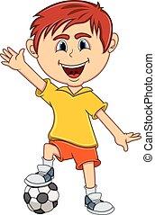 ragazzo, suo, onda, mano, calcio, gioco, cartone animato
