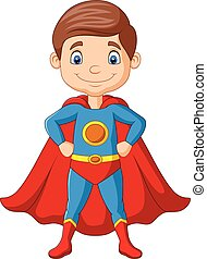ragazzo, superhero, proposta, cartone animato, felice