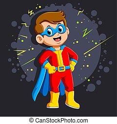 ragazzo, superhero, sorriso