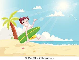 ragazzo, surfboard, surfers, correndo, spiaggia, felice