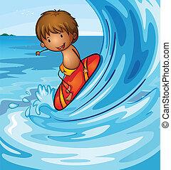 ragazzo, surfing, mare