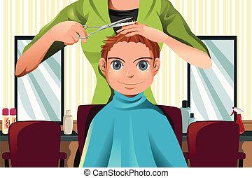 ragazzo, taglio capelli, prendere