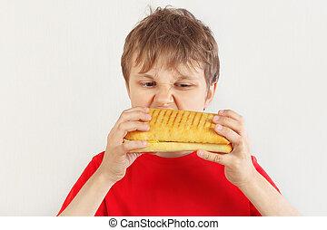 ragazzo, taglio, mangiare, camicia, cheeseburger, giovane, fondo., saporito, bianco rosso