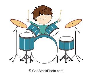 ragazzo, tamburi, -, isolato, illustrazione, vettore, fondo, bianco, gioco