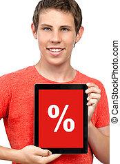 ragazzo, tavoletta, aggeggio, percento, giovane, t-shirt, scontare, computer, presa a terra, schermo tocco, rosso
