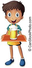 ragazzo, tazza, giovane, birra, tenendo vassoio