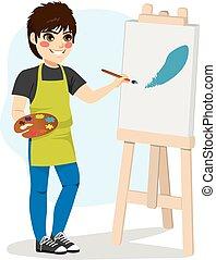 ragazzo, tela, pittura