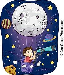 ragazzo, telecsope, spazio, luna, pari, capretto