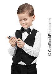 ragazzo, tenere cellphone