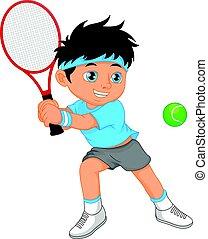 ragazzo, tennis, cartone animato, giocatore