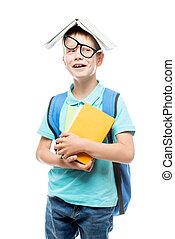 ragazzo, testa, contro, giocoso, libro, proposta, fondo, bianco, occhiali