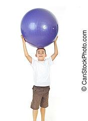 ragazzo, testa, palla, grande, sopra, presa a terra
