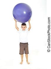ragazzo, testa, palla, presa a terra, grande