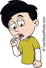 ragazzo, tosse, cartone animato, illustrazione