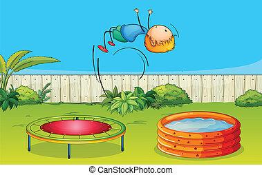 ragazzo, trampolino, gioco