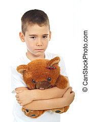 ragazzo, triste, presa a terra, orso, teddy