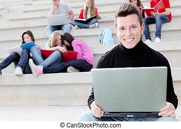 ragazzo, università, o, quaderno, studente, laptop