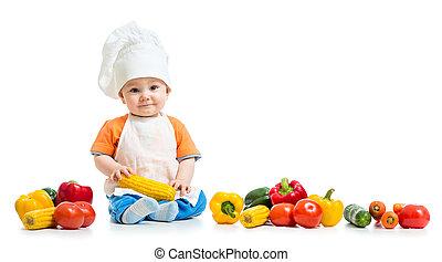 ragazzo, verdura, isolato, chef, fondo, sorridente, bianco, capretto