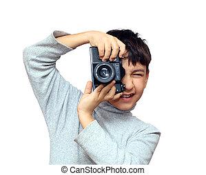 ragazzo, verticale, macchina fotografica slr, nero, fotografare