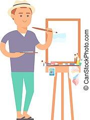 ragazzo, vettore, carattere, artista, creativo