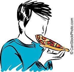 ragazzo, vettore, mangiare, illustrazione, pizza