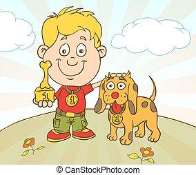 ragazzo, vettore, mostra, coccolare, carattere, cane, competition., vinto