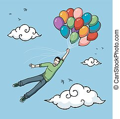 ragazzo, volare, palloni