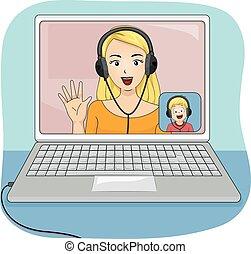ragazzo, web, laptop, mamma, discorso, capretto