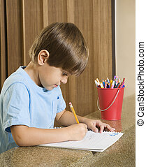 ragazzo, writing.