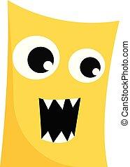 rage, large, féroce, illustration., clipart, couleur, jaune, éclater, ouvert, vecteur, bouche, si, ou, monstre