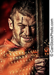 rage man - Portrait of a courageous ancient warrior in armor...